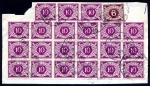 1965 10d, block of 18 + strip of 3, 6d wmk. sideways right