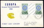 1964 Europa set in gutter pairs on FDC