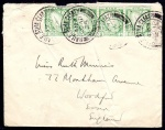 1923 ½d, horiz. strip of 4  on First Day Cover