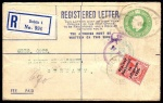 Registered Envelope 1922 George V 5d format F code B.Q.