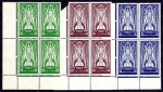 1937 St. Patrick 2/6, 5/- and 10/- corner blocks of 4