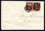 1841 Cover with 2x 1d red Pl. VIII with distinctive Clonmel MX