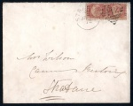 1872 Local Strabane cover with pair of ½d rose Pl. 3 (scarce!)
