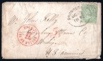 1862 Cover to USA with 1856 1/- green tied by Drogheda Spoon