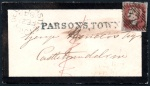1849 Small cover to Castledelvin with straight-line PARSONSTOWN