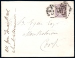 1881 Small cover to Monkstown, Cork with 1881 1d lilac