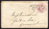 1850 Stationery envelope with superb BELFAST Spoon